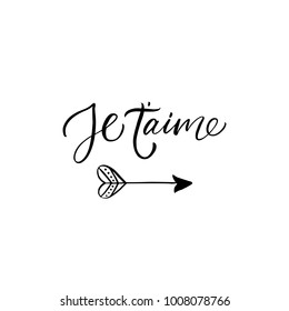 Je t'aime - I love you in french- modern brush calligraphy. Isolated on white background.