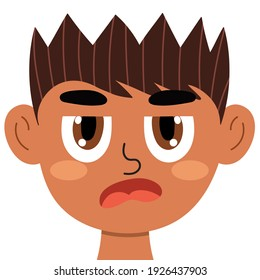 Jealous boy face. Little angry kid clipart. Envy emotion. Rage emotional expression head close-up. Feeling concept vector illustration