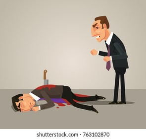 Jealous office worker businessman kill by knife his colleague. Bad teamwork concept. Vector flat cartoon illustration