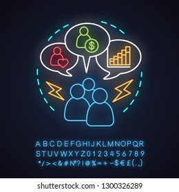 Jealousy neon light concept icon. Distrust idea. Gossip. Glowing sign with alphabet, numbers and symbols. Vector isolated illustration