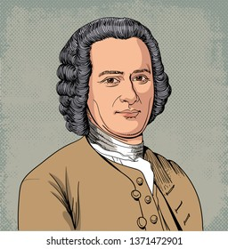 Jean Jacques Rousseau (1712-1778) portrait in line art illustration. He was philosopher, writer, and political theorist whose novels inspired the leaders of the French Revolution and the Romanticism.