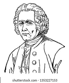 Jean-Jacques Rousseau, 1712-1778, he was a philosopher, writer, and composer, vintage line drawing or engraving illustration