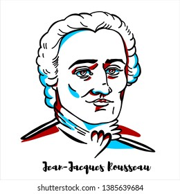Jean-Jacques Rousseau engraved vector portrait with ink contours. Genevan philosopher, writer and composer.