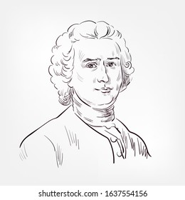 Jean-Jacques Rousseau French philosopher vector sketch portrait isolated