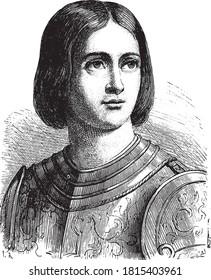 Jeanne D'Arc, Vintage engraving. From Popular France, 1869.