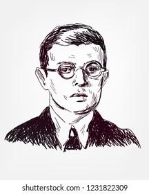Jean-Paul  Sartre  sketch style vector portrait