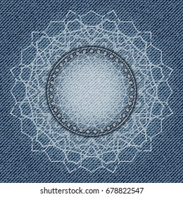 Jeans abstract flower with diamonds on blue jeans background.