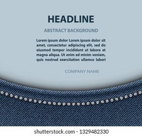 Jeans arch design with diamonds.