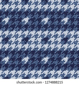 Jeans background with Houndstooth Tartan geometric print fashion design. Denim Seamless Vector Pattern Tile. Blue jeans cloth Dog tooth Check Fabric Texture. English background Glen plaid Pattern