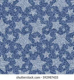 Jeans background with Stars. Vector Denim Seamless pattern.