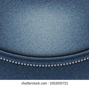 Jeans design with arch and silver sequins on blue jeans background.