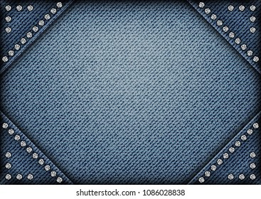 Jeans frame on jeans background with sequins on angles.
