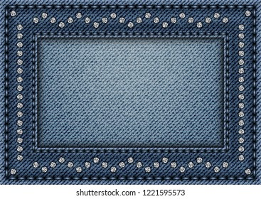 Jeans frame with sequin ornament and stitches on jeans background.