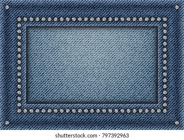 Jeans frame with spangles on jeans background.