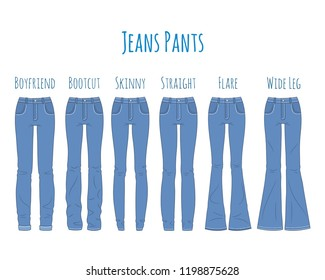 Jeans pants collection, sketch vector illustration. Different types of women blue jeans pants, skinny, boot cut, flare, boyfriend, straight and wide leg, isolated on white background.