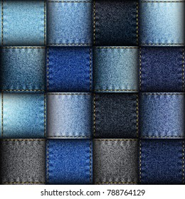 Jeans patchwork background. Seamless vector background. Imitation of a blue jeans ribbons.