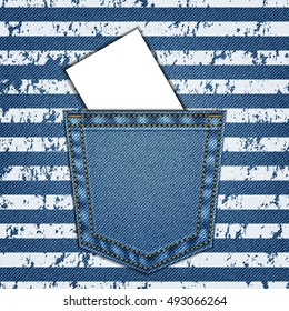 Jeans pocket. Background of Denim texture.