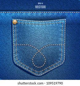 Jeans pocket. Denim background. Vector EPS 10.