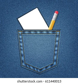 Jeans pocket with pencil and white paper. Template. Education Concept. Pencil for drawing.