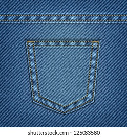 Jeans pocket in vector EPS 10. Web page background.