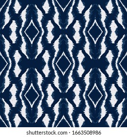 Jeans Shibori Stripe Vector Seamless Pattern. African Arabic Tribal Print. Boho Traditional Design. Indigo Tile Ogee Wallpaper.