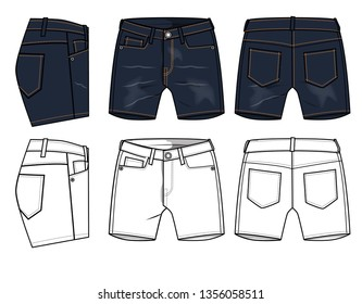 jeans shorts vector template for lady
