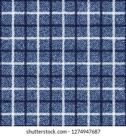 Jeans Tattersall or Windowpane Plaid background. Denim Seamless Vector Textile Pattern. Blue jeans cloth with Check Repeating Pattern Tile. Father's Day Background. Men's Fashion Fabric