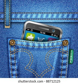 Jeans Texture with Mobile Phone, vector illustration