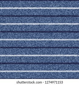 Jeans Washed Indigo Striped Shirt background. Denim Seamless Vector Textile Pattern. Blue jeans cloth with Horizontal Stripes Repeating Pattern Tile. Father's Day Background. Men's Fashion Fabric