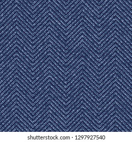 Jeans Washed Indigo Striped Shirt background. Denim Seamless Vector Textile Pattern. Blue Jeans Cloth with Chevron Stripes Repeating Pattern Tile. Father's Day Background. Men's Fashion Fabric