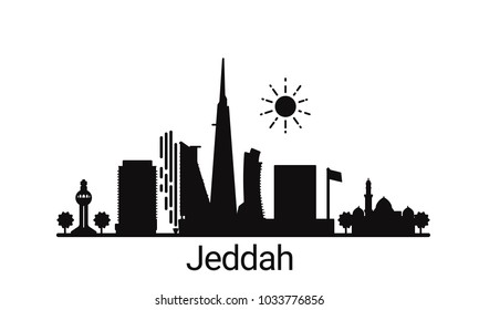 Jeddah city outline skyline. All Jeddah buildings - customizable objects, so you can simple change skyline composition. Minimal design.