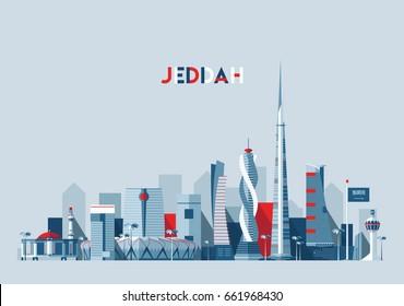 Jeddah city skyline, Saudi Arabia, vector illustration, flat design
