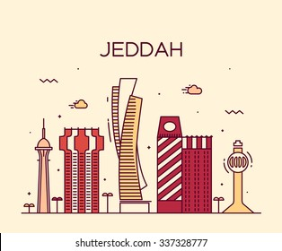 Jeddah skyline, detailed silhouette. Trendy vector illustration, linear style