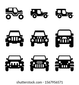 jeep car icon isolated sign symbol vector illustration - Collection of high quality black style vector icons