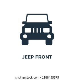 Jeep front icon. Black filled vector illustration. Jeep front symbol on white background. Can be used in web and mobile.