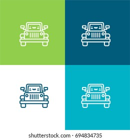 Jeep green and blue material color minimal icon or logo design