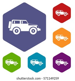 Jeep icons set rhombus in different colors isolated on white background