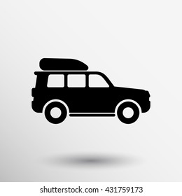 Jeep travel pictogram Summer family concept illustration icon on white background