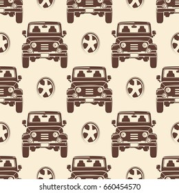 Jeeps seamless pattern design - vintage seamless texture with cars. Transport background vector illustration