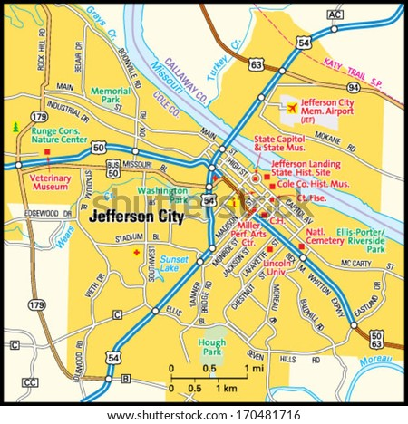 Jefferson City Missouri Area Map Stock Vector (Royalty Free ...