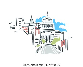 Jefferson city Missouri usa America vector sketch illustration line art