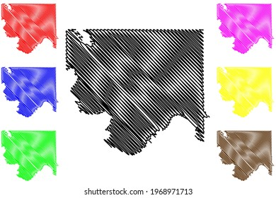 Jefferson County, Oklahoma State (U.S. county, United States of America) map vector illustration, scribble sketch Jefferson map