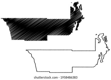 Jefferson County, State of Washington (U.S. county, United States of America) map vector illustration, scribble sketch Jefferson map