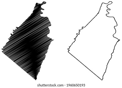 Jefferson County, State of West Virginia (U.S. county, United States of America) map vector illustration, scribble sketch Jefferson map
