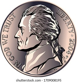 Jefferson nickel, American money, United States five-cent coin with profile Thomas Jefferson, third President of the United States on obverse