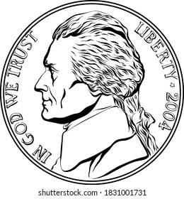 Jefferson nickel, American money, United States five-cent coin with Jefferson, third President of USA on obverse. Black and white image
