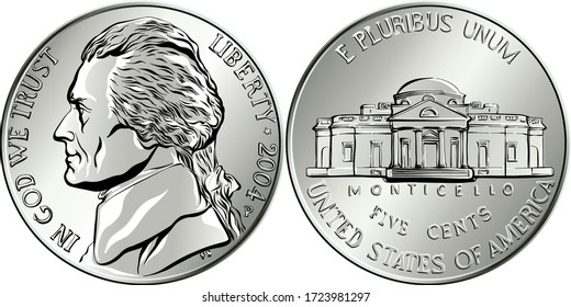 Jefferson Nickel, amerikanisches Geld, USA Fünf-Cent-Münze mit dem dritten US-Präsidenten Thomas Jefferson auf obverse und seinem Haus Monticello auf umgekehrt