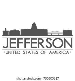 Jefferson Skyline Silhouette Design City Vector Art Famous Buildings
