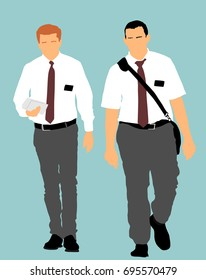 Jehovah's witnesses in the street vector illustration. Public agitation and interpretation for new religion.  Recruiting into a new faith. Aggressive recruiting.