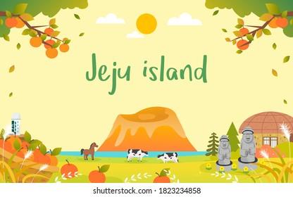 JeJu Island in Autumn Background vector illustration. Beautiful fall season landscape. harvesting oranges